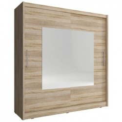 Szafa dwudrzwiowa z dwoma szufladami wysoki połysk + lustro 120x216 cm