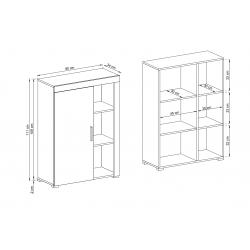 Wymiary szafki stojącej Meblościanka RITA biały + jasny atelier beton