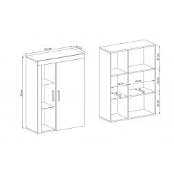 Wymiary szafki wiszącej Meblościanka RITA biały + jasny atelier beton