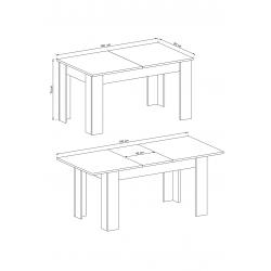 Schemat wymiarów stołu Zestaw mebli ENJOY