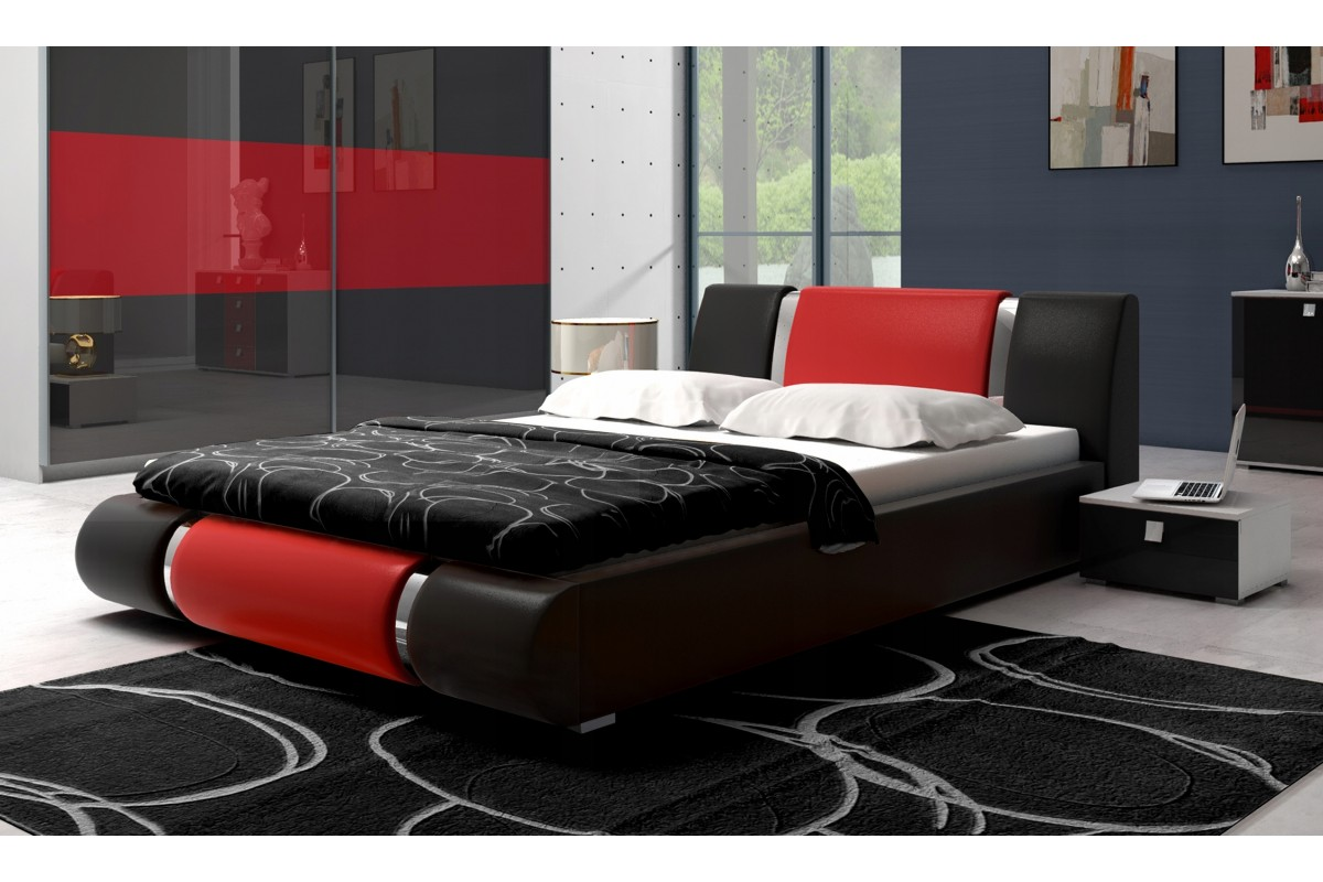 Łóżko LUXURY czarno-czerwone