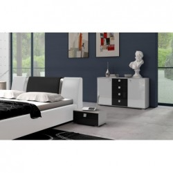 fronty biało czarne - wysoki połysk Sypialnia Spinel w kolorze białym