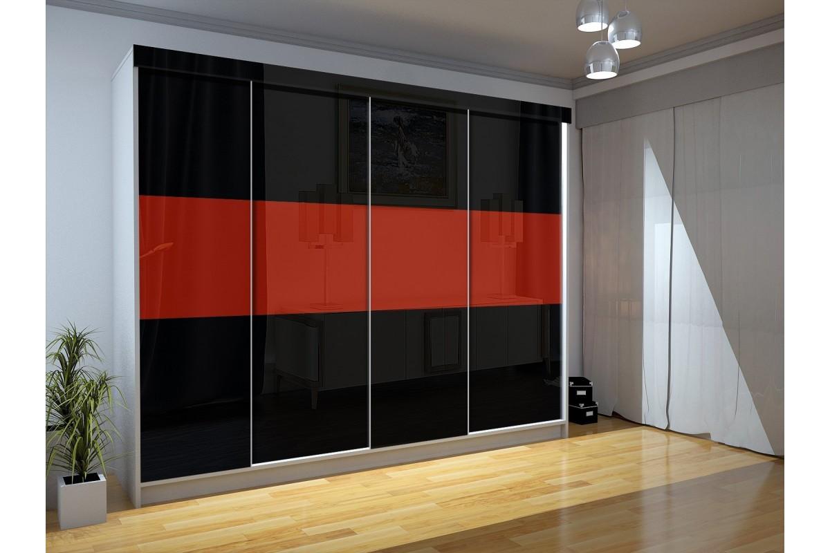 Czterodrzwiowa szafa LUXURY III - czarno-czerwona
