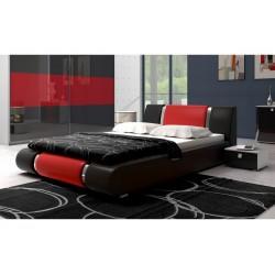Łóżko LUXURY 140x200 czarno-czerwone