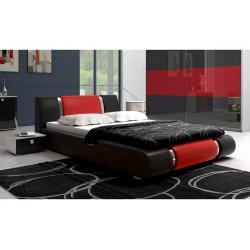 Łóżko LUXURY 140x200 czarno-czerwone Łóżko LUXURY 140x200 czarno-czerwone