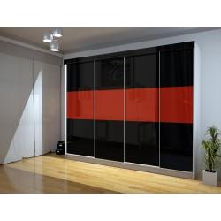 Czterodrzwiowa szafa LUXURY III - czarno-czerwona Czterodrzwiowa szafa LUXURY III - biała + lustro