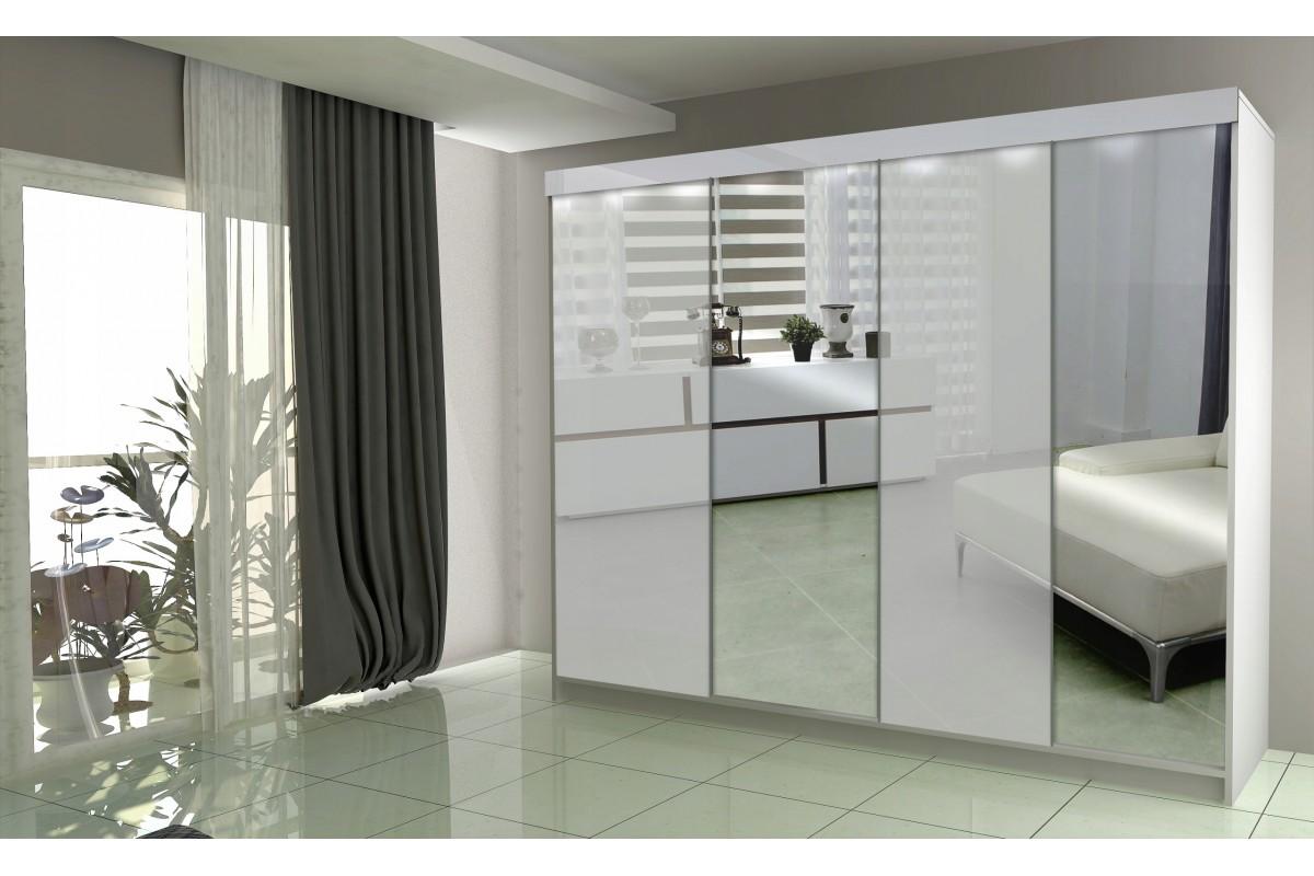 Czterodrzwiowa szafa LUXURY III - biała + lustro