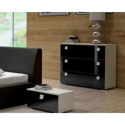 Sypialnia TOPAZ w kolorze biało-czarnym - komoda i stolik nocny Sypialnia TOPAZ w kolorze biało-czarnym