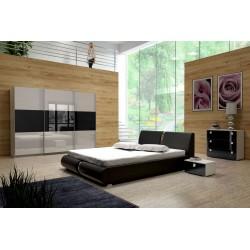 Sypialnia TOPAZ w kolorze biało-czarnym