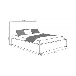 Szkic łóżka Łóżko tapicerowane TRIX