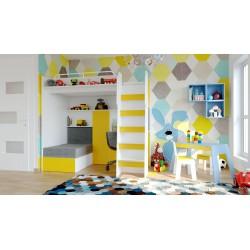 Łóżko piętrowe JIM 7 z antresolą i biurkiem żółte
