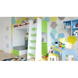 Łóżko piętrowe JIM 7 antresola z rozkładaną sofą limonkowe Łóżko piętrowe JIM 7 antresola z rozkładaną sofą limonkowe