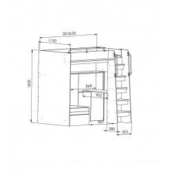 Szczegółowe wymiary łóżka JIM 7 Łóżko piętrowe JIM 7 antresola z rozkładaną sofą granatowe
