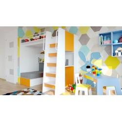 Łóżko piętrowe JIM 7 antresola z rozkładaną sofą pomarańczowe Łóżko piętrowe JIM 7 antresola z rozkładaną sofą pomarańczowe