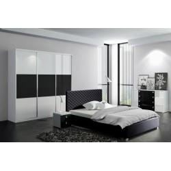 Sypialnia CLEAR biało-czarna