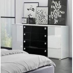 Komoda Sypialnia CLEAR biało-czarna
