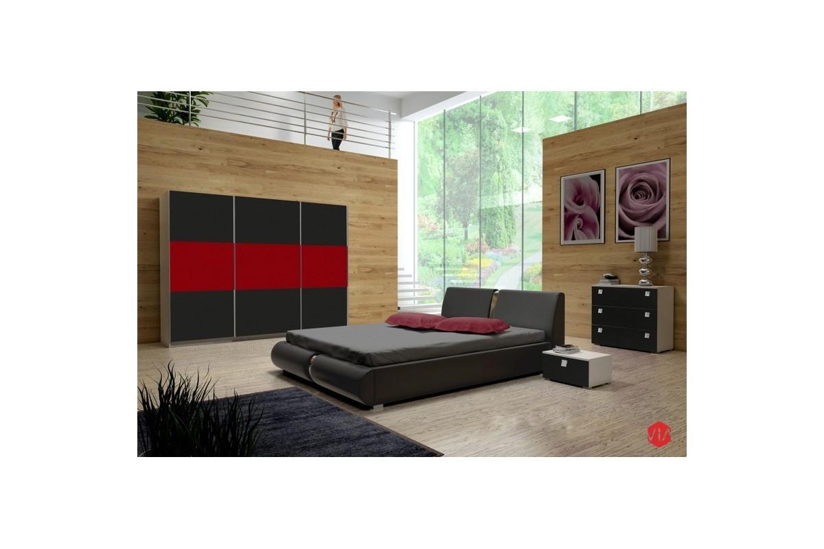 Sypialnia TOPAZ czarno-czerwona