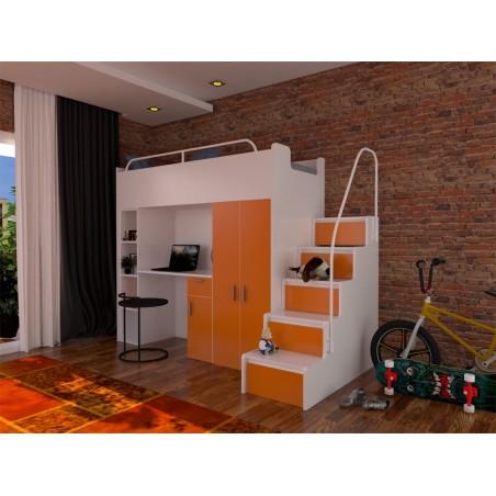 Zestaw mebli do pokoju dziecięcego JENNY ze schodami pomarańczowy