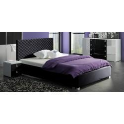 Łóżko CLEAR czarne Łóżko tapicerowane TURKUS z ekologicznej skóry