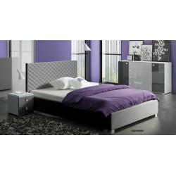 Łóżko CLEAR szare Łóżko tapicerowane TURKUS z ekologicznej skóry