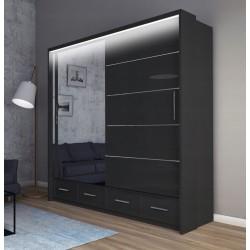 Szafa LOTION 207 cm czarny połysk