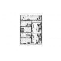 Wnętrze szafy LIO 150 cm Szafa LIO biały + szary lakobel + lustro