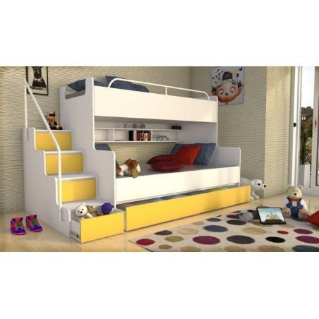 Łóżko piętrowe JIM dla dzieci 3 osobowe z materacami biało-żółte