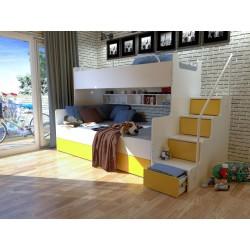 Łóżko piętrowe JIM dla dzieci 3 osobowe z materacami biało-żółte Łóżko piętrowe JIM dla dzieci 3 osobowe z materacami biało-żółte
