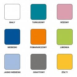 Dostępne kolory łóżka JIM Łóżko piętrowe JIM 3 osobowe z materacami biało-turkusowe