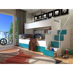 Łóżko piętrowe JIM 3 osobowe z materacami biało-turkusowe Łóżko piętrowe JIM 3 osobowe z materacami biało-turkusowe