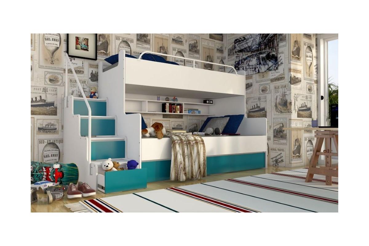 Łóżko piętrowe JIM 3 osobowe z materacami biało-turkusowe