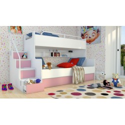 Łóżko piętrowe JIM 3 osobowe z materacami biało-różowe