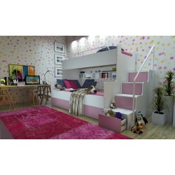 Łóżko piętrowe JIM 3 osobowe z materacami biało-różowe Łóżko piętrowe JIM 3 osobowe z materacami biało-różowe