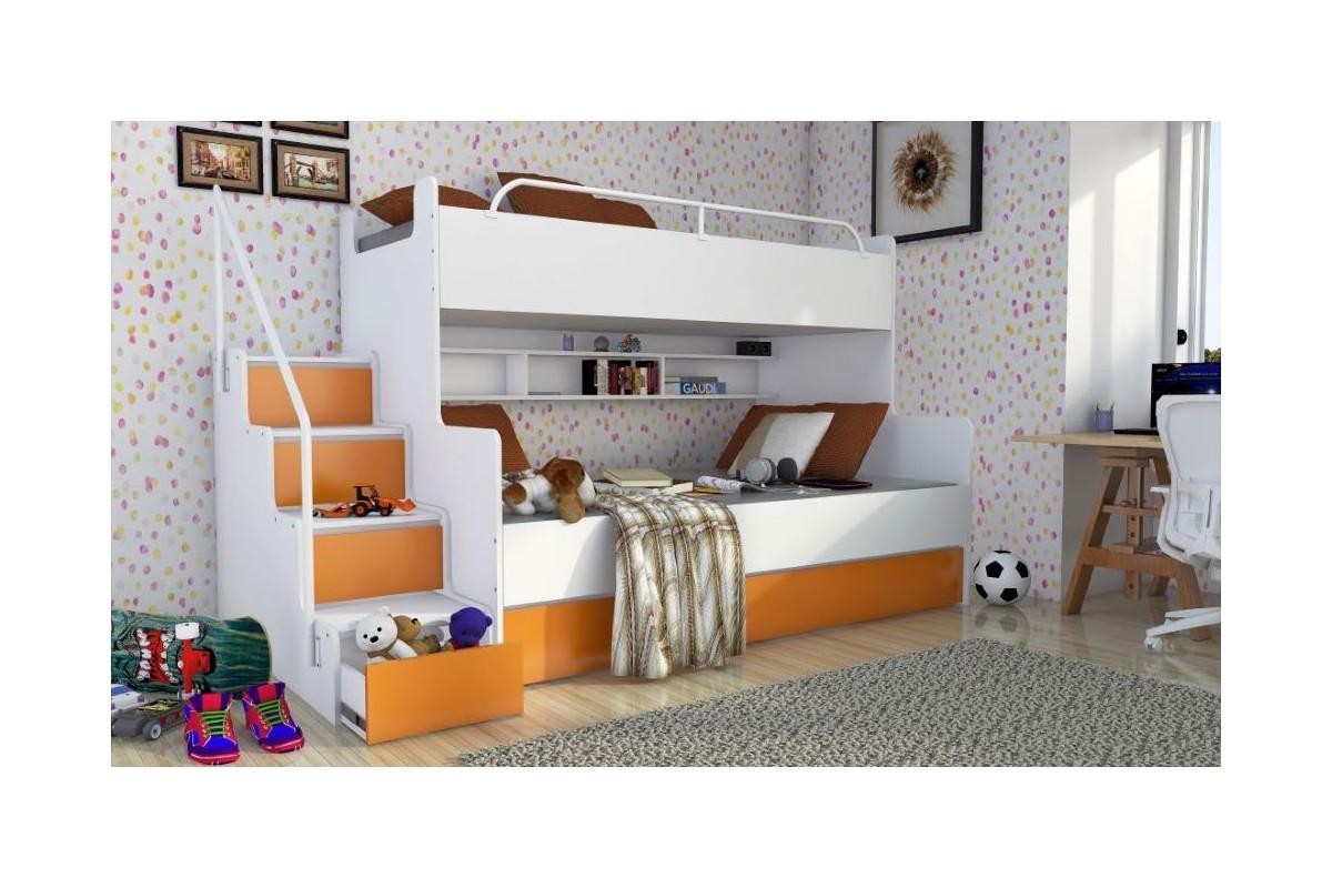 Łóżko piętrowe JIM dla dzieci 3 osobowe z materacami biało-pomarańczowe