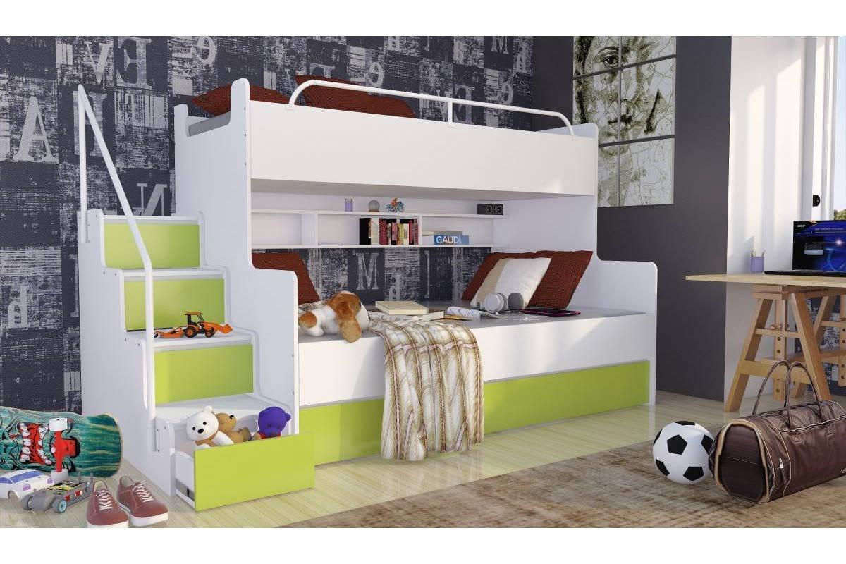 Łóżko piętrowe JIM 3 osobowe z materacami biało-limonkowe