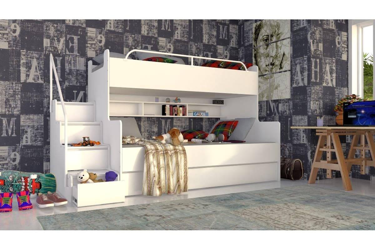 Łóżko piętrowe JIM 3 osobowe z materacami białe