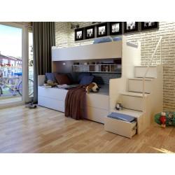 Łóżko piętrowe JIM 3 osobowe z materacami białe Łóżko piętrowe JIM 3 osobowe z materacami białe