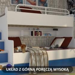 Zdjęcie poglądowe łóżka piętrowego JIM z dodatkową wysoką barierką górną Łóżko piętrowe JIM 3 osobowe z materacami biało-jasno niebieskie