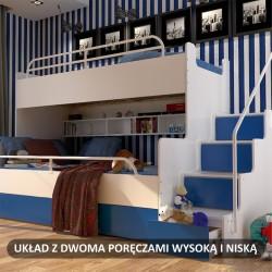 Zdjęcie poglądowe łóżka piętrowego JIM z dodatkową dolną barierką oraz barierką wysoką górną Łóżko piętrowe JIM 3 osobowe z materacami biało-jasno niebieskie