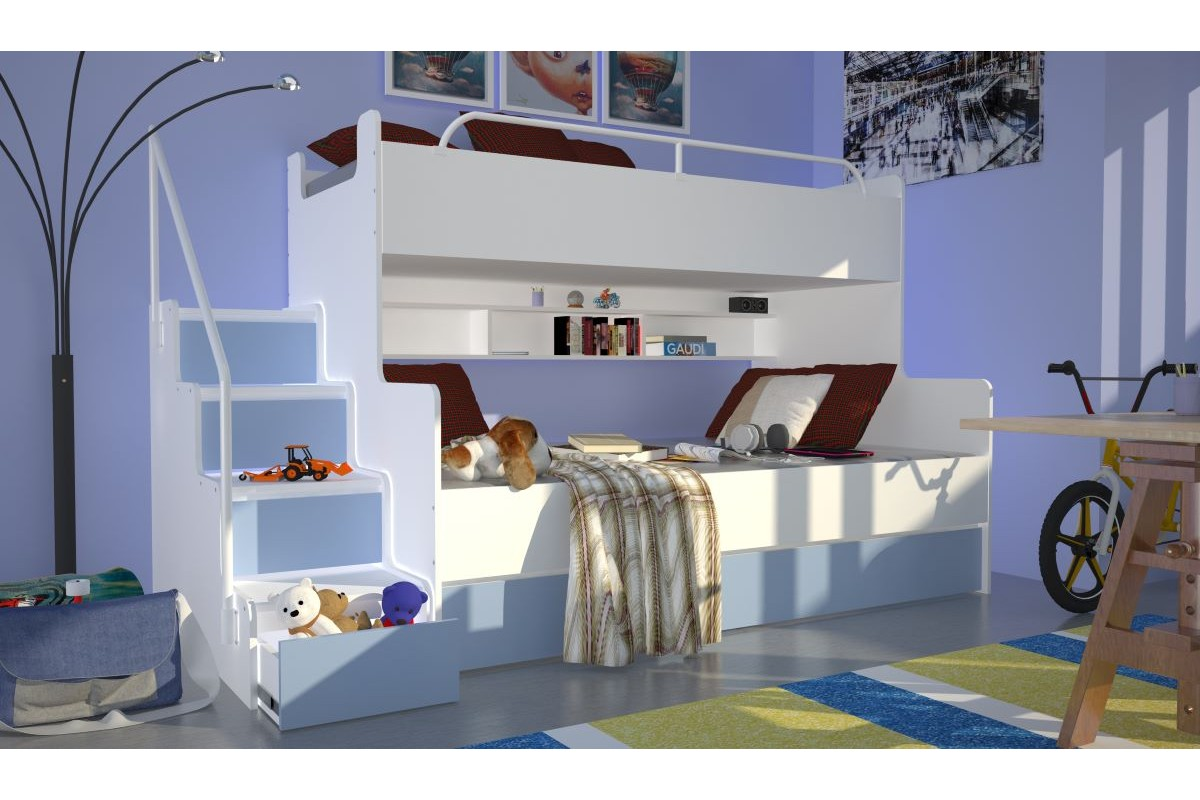 Łóżko piętrowe JIM 3 osobowe z materacami biało-jasno niebieskie
