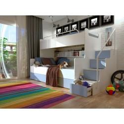 Łóżko piętrowe JIM 3 osobowe z materacami biało-jasno niebieskie Łóżko piętrowe JIM 3 osobowe z materacami biało-jasno niebieskie