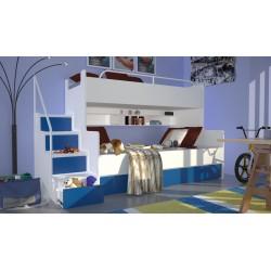 Łóżko piętrowe JIM 3 osobowe z materacami biało-niebieskie