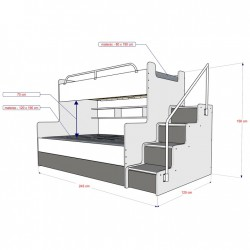 Schemat łóżko piętrowe JIM Łóżko piętrowe JIM 3 osobowe z materacami biało-grafitowe