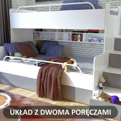 Zdjęcie poglądowe łóżka piętrowego JIM z dodatkową dolną barierką Łóżko piętrowe JIM 3 osobowe z materacami biało-grafitowe