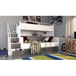 Łóżko piętrowe JIM 3 osobowe z materacami biało-grafitowe