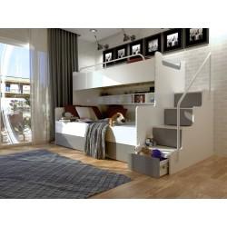 Łóżko piętrowe JIM 3 osobowe z materacami biało-gafitowe