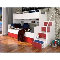 Łóżko piętrowe JIM z szufladami na wysoki połysk czerwone
