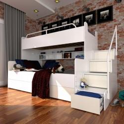 Łóżko piętrowe JIM z szufladami na wysoki połysk beżowe
