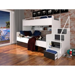 Łóżko piętrowe JIM z szufladami na wysoki połysk czarne Łóżko piętrowe JIM z szufladami na wysoki połysk białe