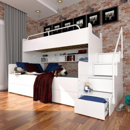 Łóżko piętrowe JIM z szufladami na wysoki połysk białe